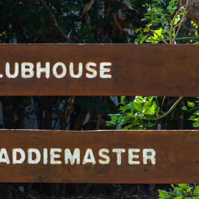 """Golf Course Signs Clubhouse Caddiemaster"" stock image"