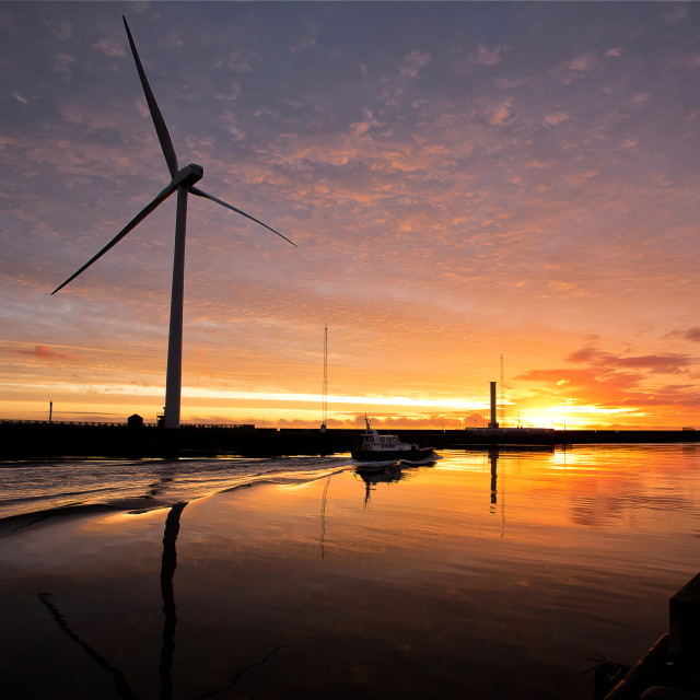 """October Sunrise on the River Blyth"" stock image"