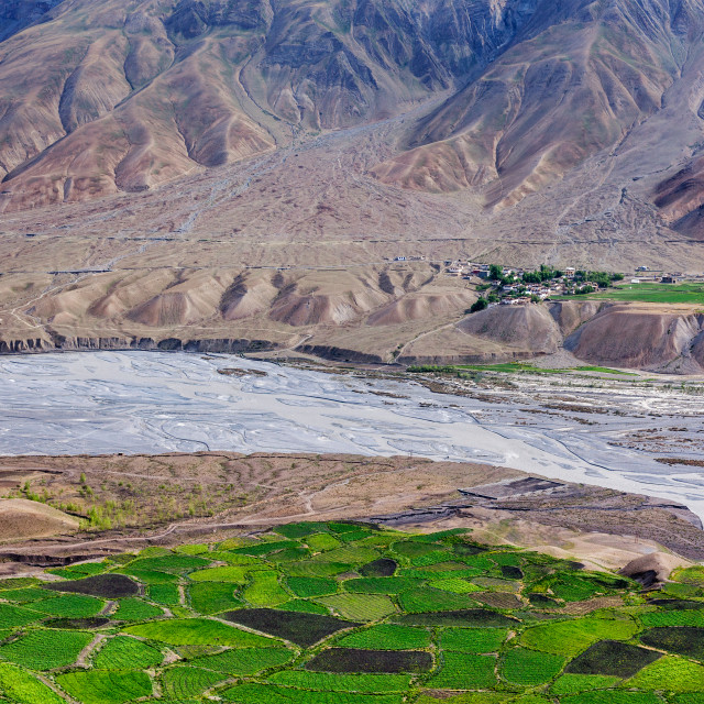 """""""View of Spiti valley with green fields. Himachal Pradesh, India"""" stock image"""