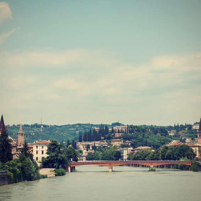 """View on Adige river which flows through Verona city"" stock image"