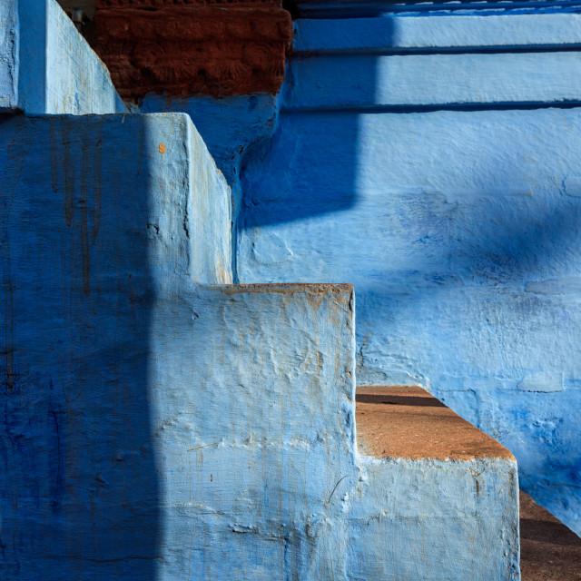 """Stairs of blue painted house in Jodhpur, Blue City around Mehrangarh Fort...."" stock image"