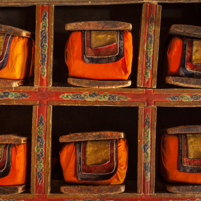 """Folios of old manuscripts in library of Thiksey monastery, Ladakh"" stock image"
