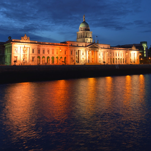 """Custom House Dublin Ireland in night"" stock image"