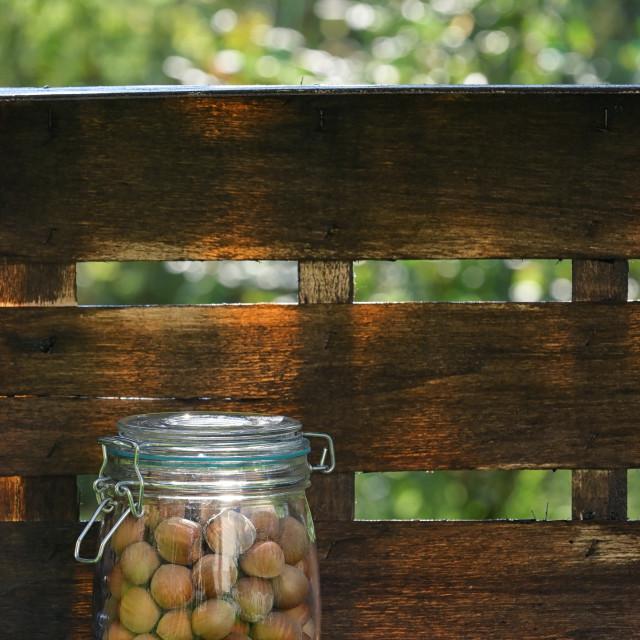 """Unpeeled Hazelnuts In A Glass Jar"" stock image"