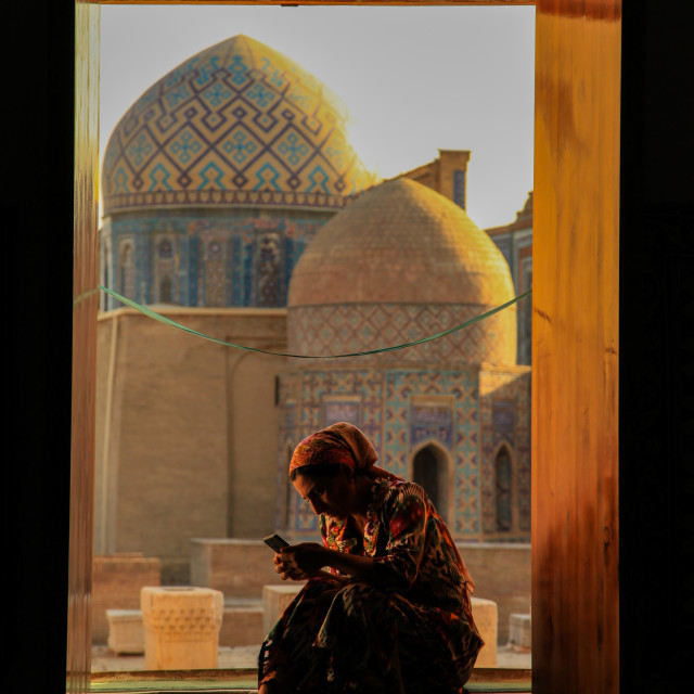 """Old and new in Samarkand"" stock image"