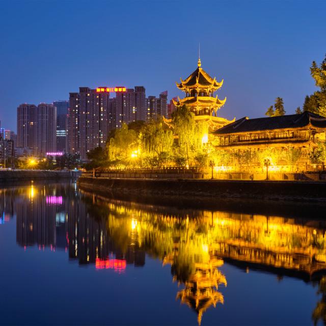 """""""Wangjiang Pavilion in Wangjianglou park. Chengdu, Sichuan, China"""" stock image"""