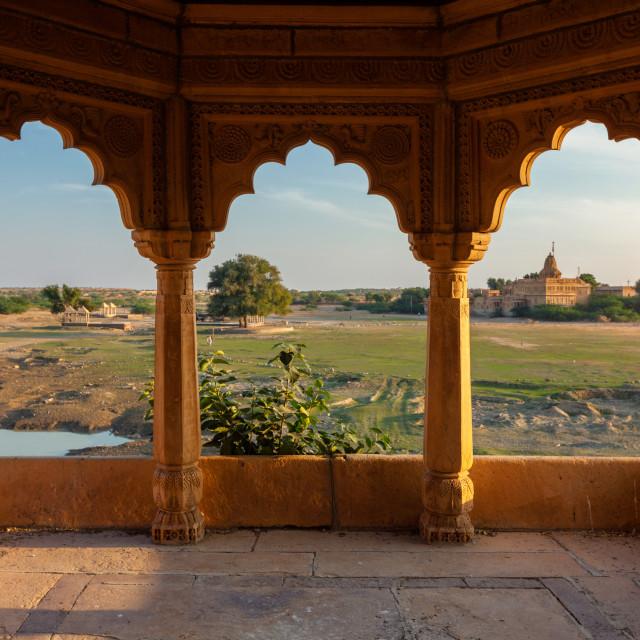 """Pavillion at Amar Sagar lake, Jaisalmer, Rajasthan, India"" stock image"