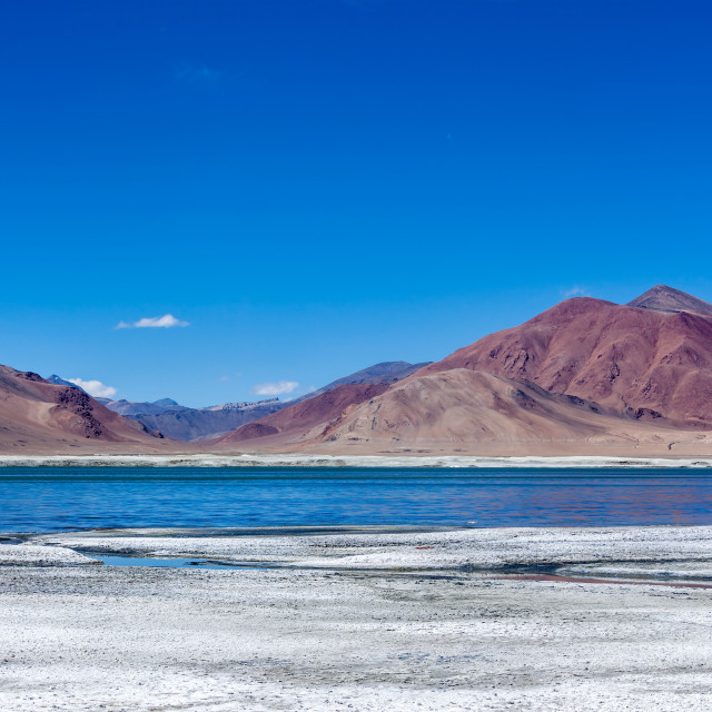 """Salt lake Tso Kar in Himalayas, Ladakh"" stock image"