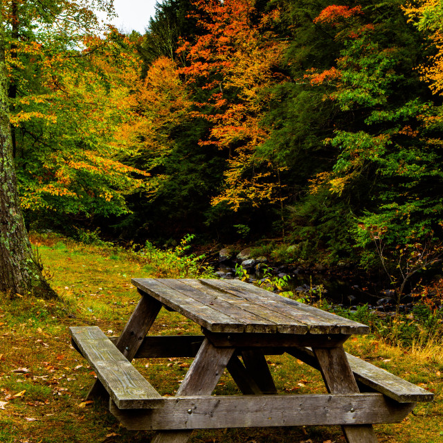 """Picnic Bench by the River in Autumn in New England"" stock image"