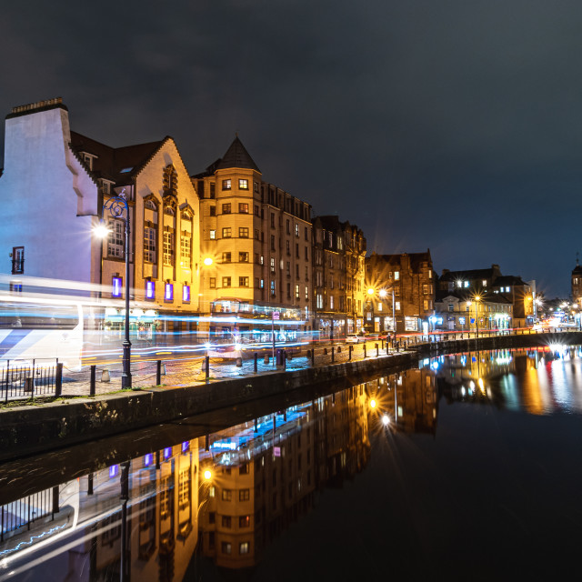 """Light trails and reflections in Leith, Edinburgh"" stock image"