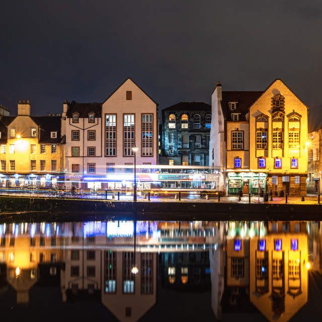 """Light trails and reflections in Leith, Edinburgh. Pt 2."" stock image"