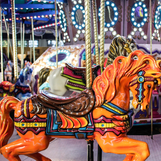 """""""decorative horse in colorful carousel"""" stock image"""