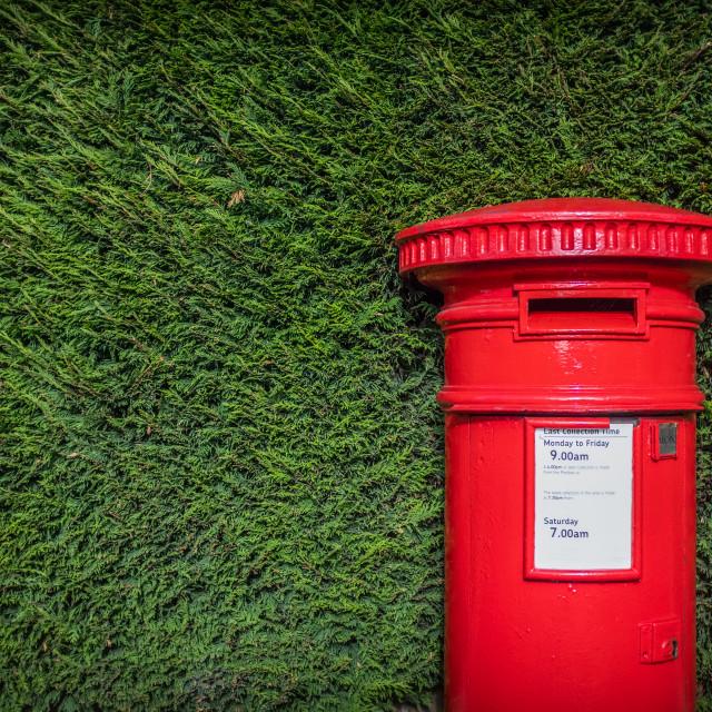 """Classic Red British Pillar Box Against Hedge"" stock image"