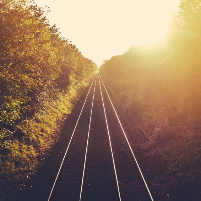 """Train Tracks At Sunset"" stock image"