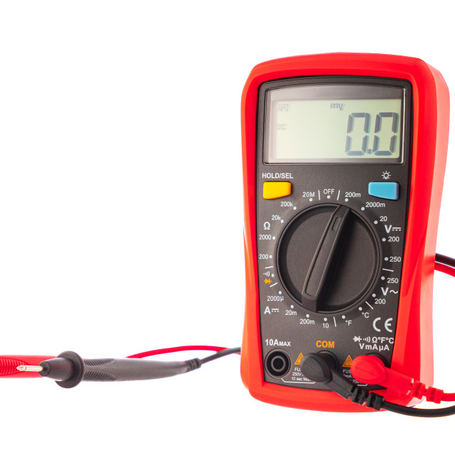 """""""Multimeter to check electricity voltage isolated on white backgr"""" stock image"""