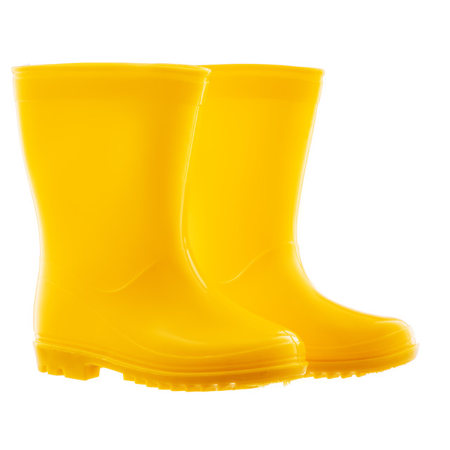 """""""Yellow Rubber Rain Boots for kids isolated on white background"""" stock image"""