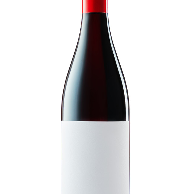 """""""Wine bottle with label and red wine isolated on white background"""" stock image"""