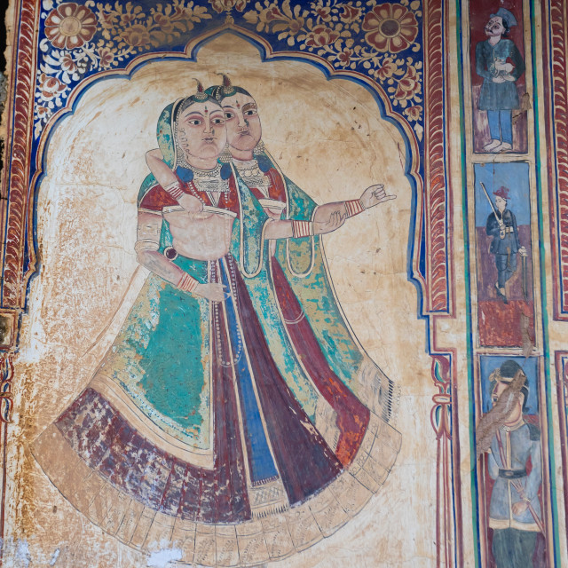 """Wall paintings depicting indian people on an old haveli, Rajasthan,..."" stock image"