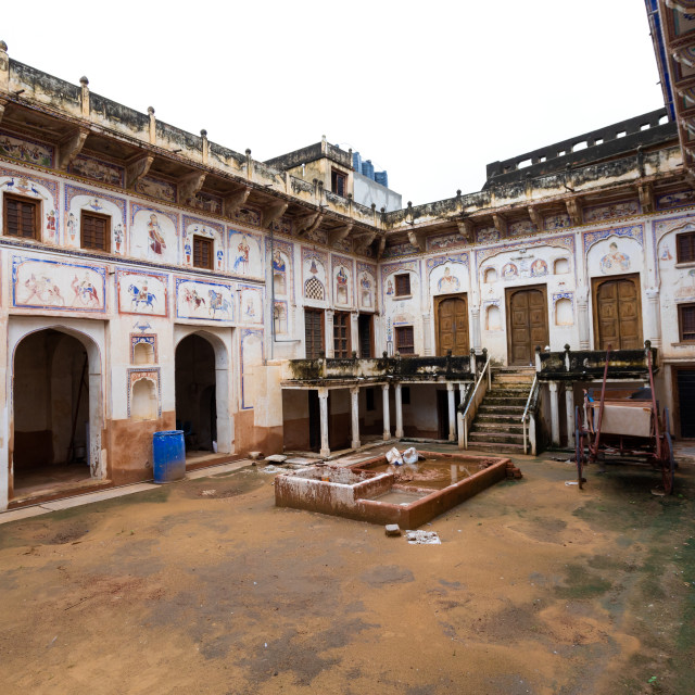 """Murals in the courtyard of a haveli, Rajasthan, Nawalgarh, India"" stock image"