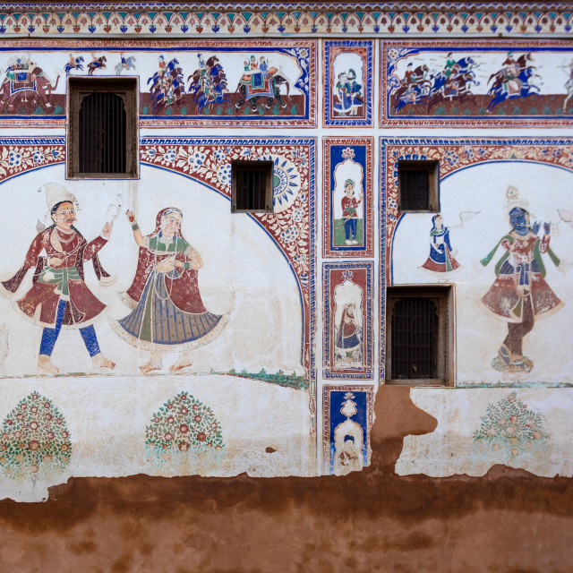 """Wall paintings on an old haveli, Rajasthan, Nawalgarh, India"" stock image"