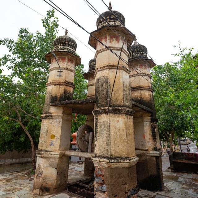 """Ancient well, Rajasthan, Nawalgarh, India"" stock image"