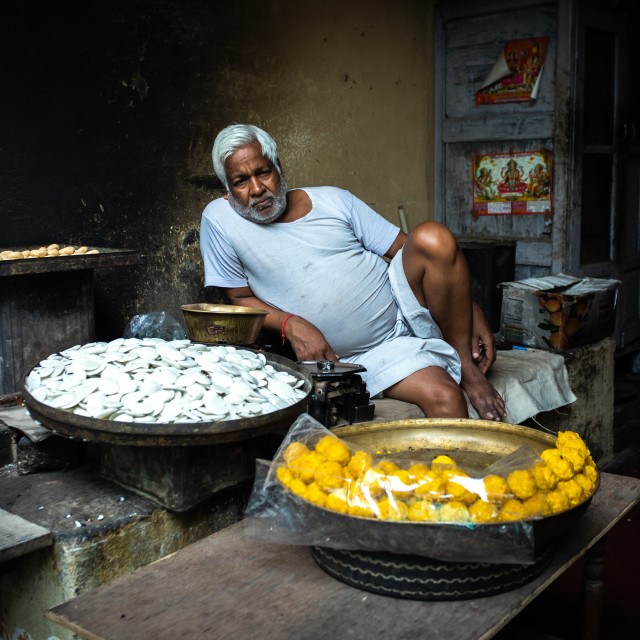 """Indian street vendor selling sweets, Rajasthan, Nawalgarh, India"" stock image"