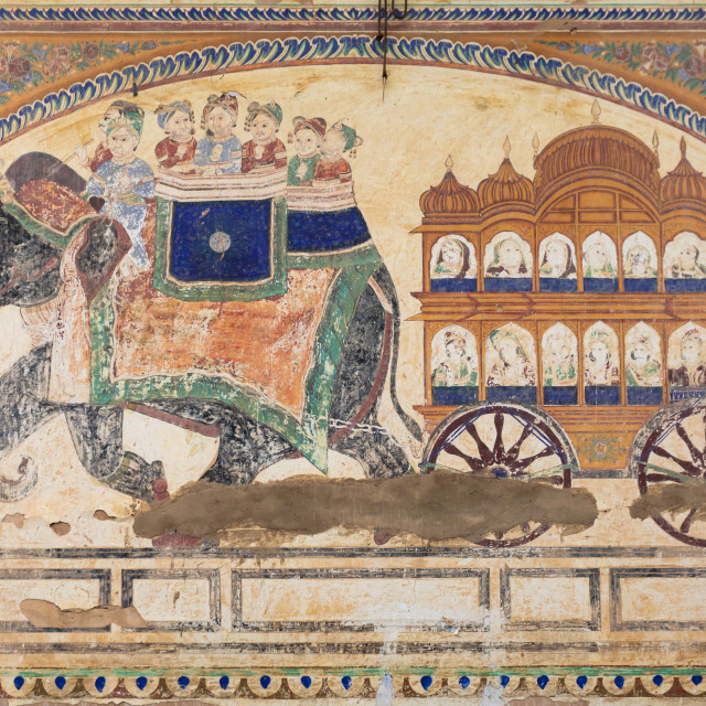 """Wall paintings depicting indian people on an elephant on an old haveli,..."" stock image"