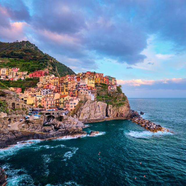 """Manarola village on sunset, Cinque Terre, Liguria, Italy"" stock image"