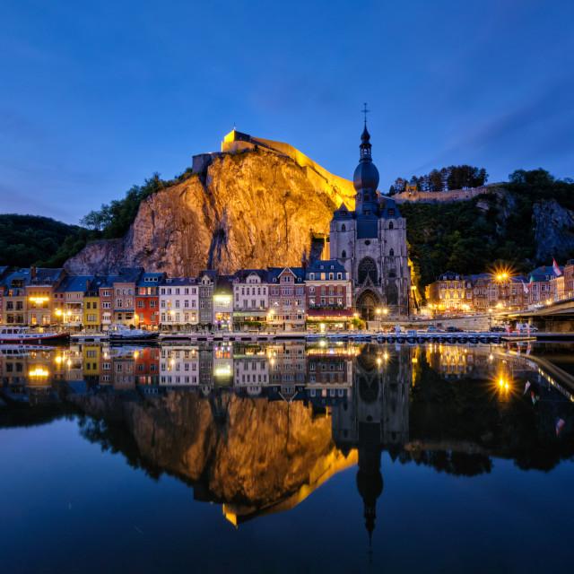 """Night view of Dinant town, Belgium"" stock image"