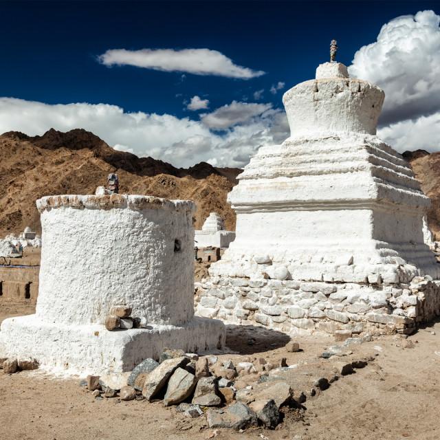 """""""White chortens stupas near Shey, Ladakh, India"""" stock image"""