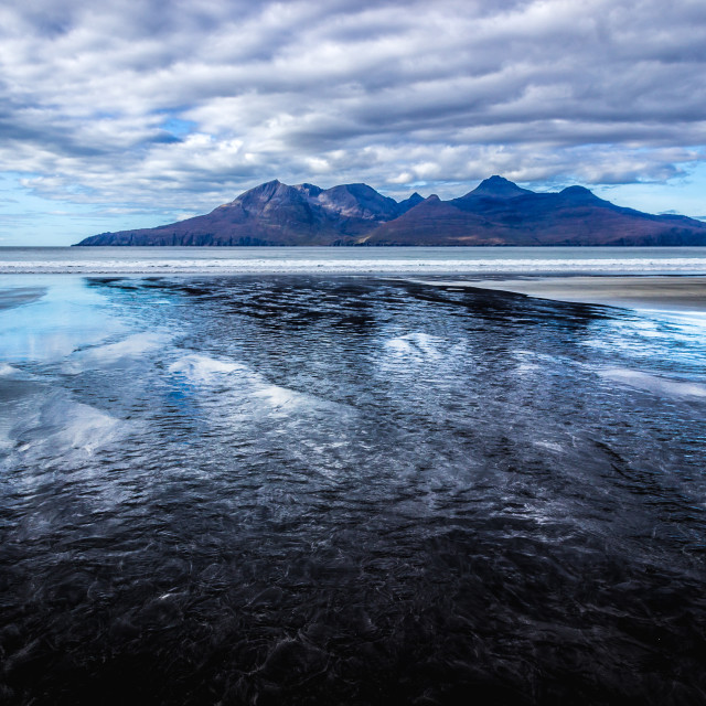 """""""Laig beach and the Rum Cuillin."""" stock image"""
