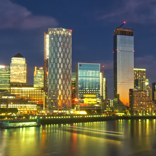 """The end of the sunset Canary Wharf and the river"" stock image"