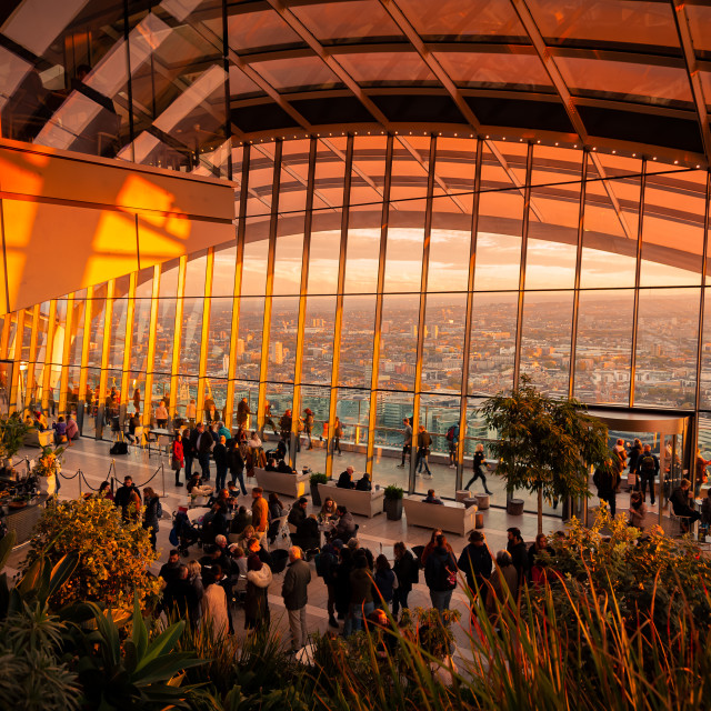 """London, UK. 03-11-2018. Visitors enjoying view from Sky Garden Terraces at south London with busy Thames River."" stock image"