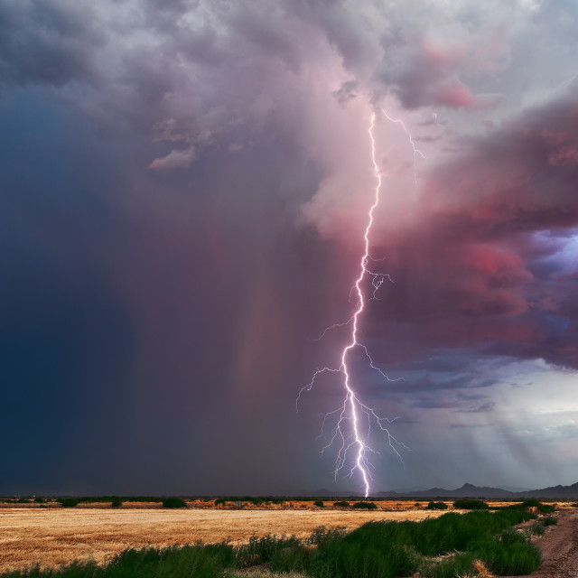 """Thunderstorm and lightning bolt"" stock image"