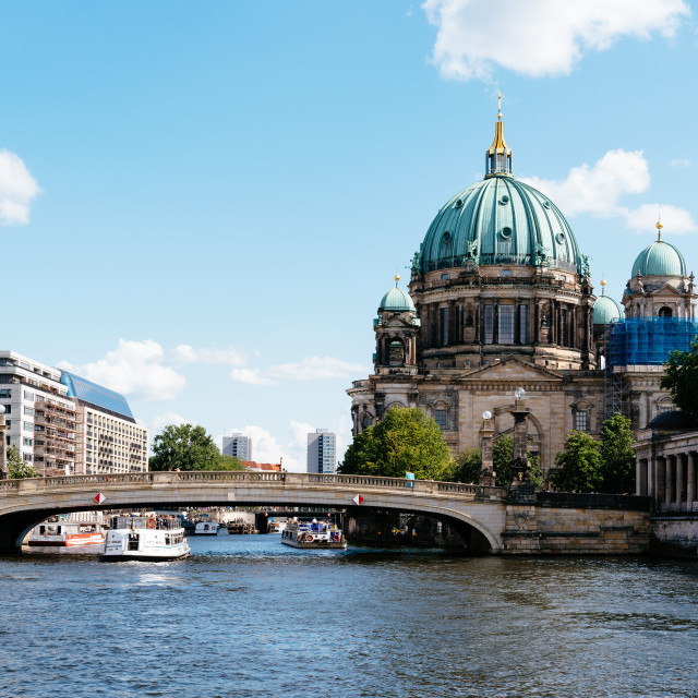 """Scenic view of Spree river and Berlin Cathedral in Berlin"" stock image"