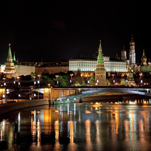 """""""Kremlin by night."""" stock image"""