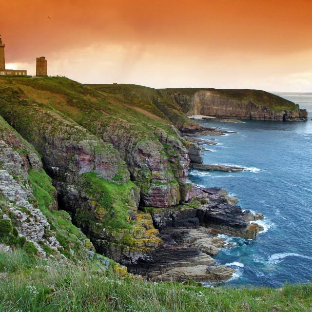 """""""Cap Frehel lighthouse"""" stock image"""