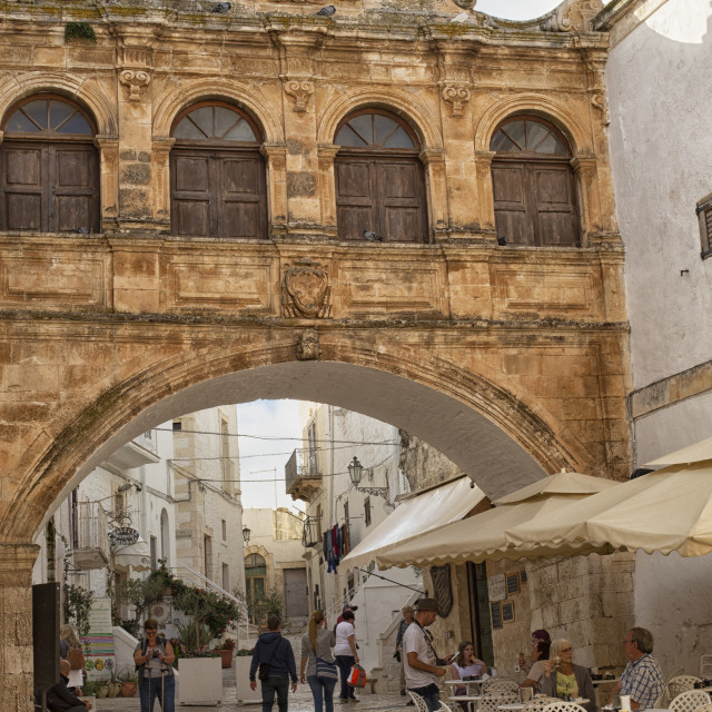 """The Scoppa arch of the bishop's palace in Ostuni, Italy"" stock image"