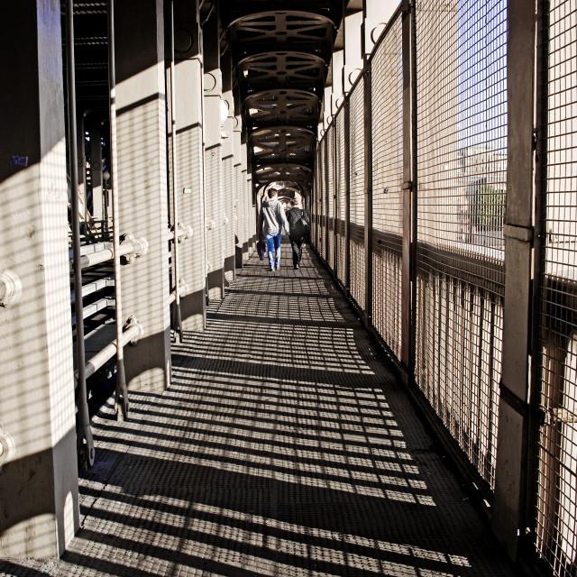 """Caged walkway"" stock image"