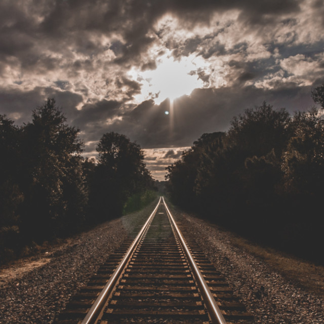 """sunset over rails"" stock image"
