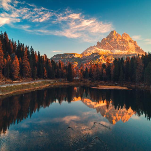 """Aerial view of Lago Antorno, Dolomites, Lake mountain landscape"" stock image"