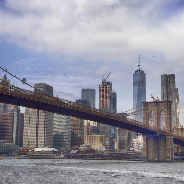 """Manhattan and Brooklyn Bridge"" stock image"