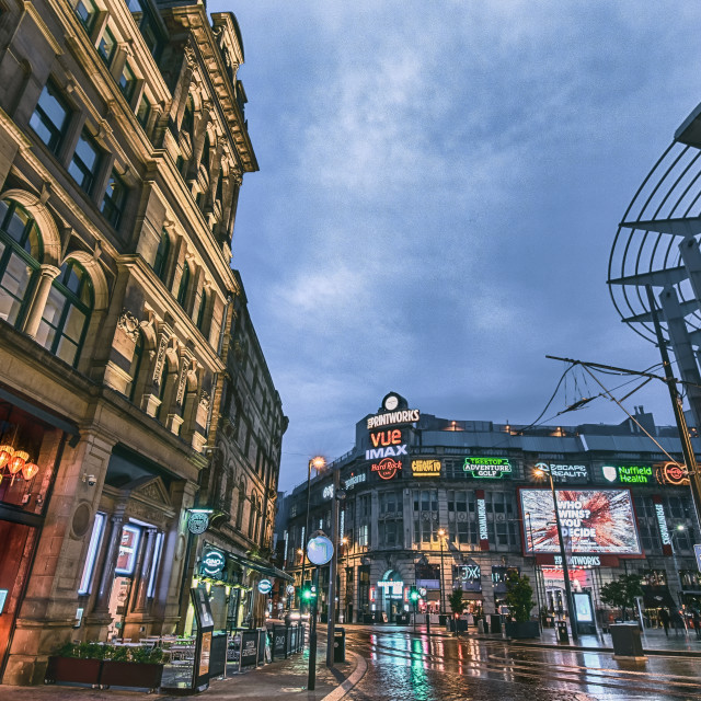 """Rainy evening in Manchester"" stock image"