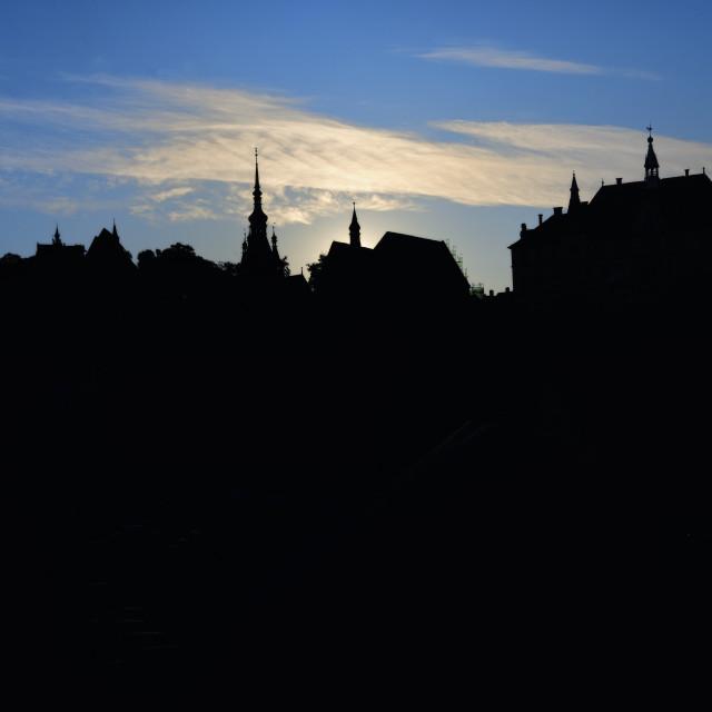 """Fortress Silhouette At Sunrise In Sighisoara, Transylvania"" stock image"