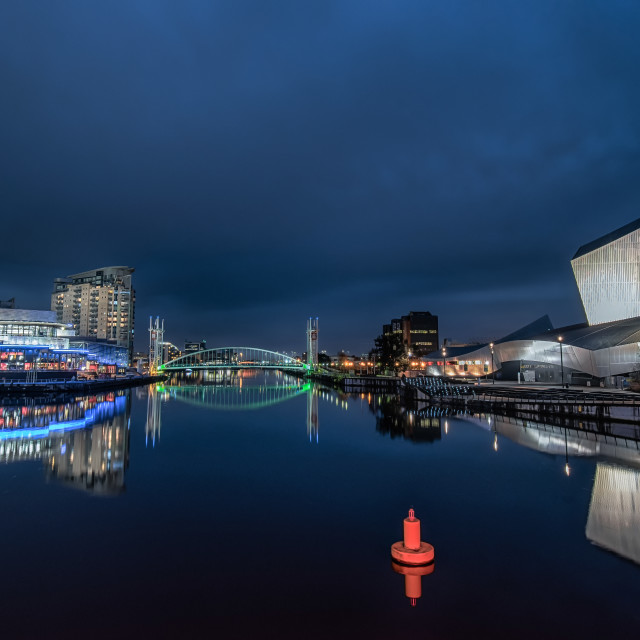 """MediaCity Manchester at night"" stock image"