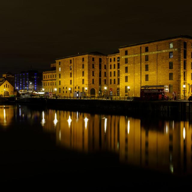 """Albert dock, Liverpool at night"" stock image"
