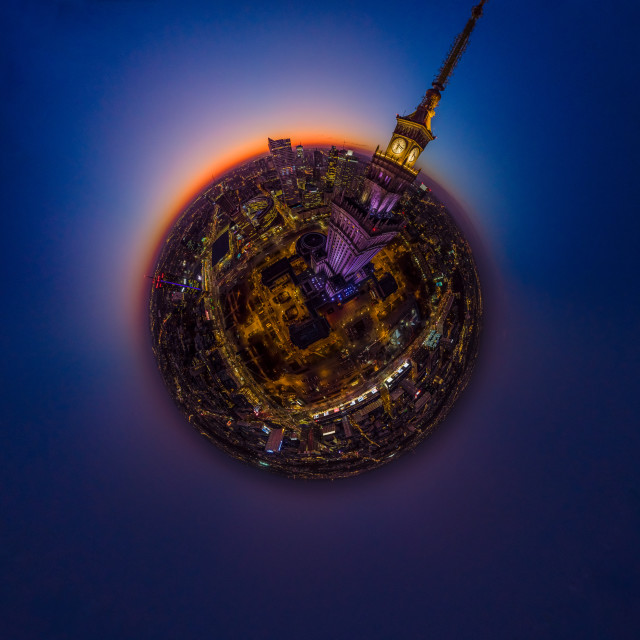"""Warszawa, Polska - 14 October 2019: dusk and Moon over little planet Warsaw, city center aerial view"" stock image"