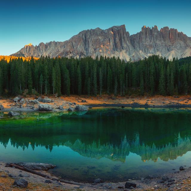 """Carezza lake in Dolomitesn or Lago di Carezza with reflection o"" stock image"