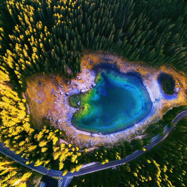 """""""Carezza lake in Dolomitesn or Lago di Carezza, aerial view in t"""" stock image"""