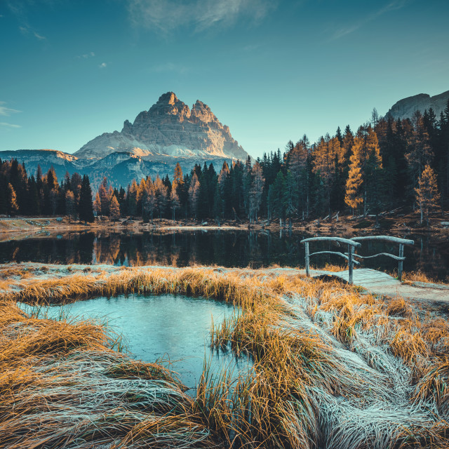 """Morning view of Lago Antorno, Dolomites, Lake mountain landscape"" stock image"